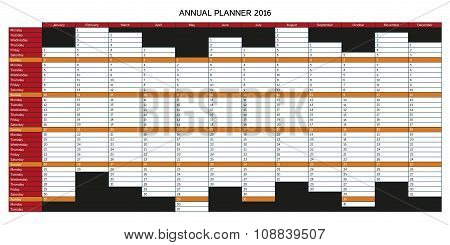 Colorful English Annual Planner 2016