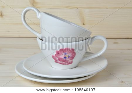White Porcelain Cups And Saucers