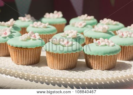 Delicious sweet buffet with cupcakes. Sweet holiday buffet with cupcakes and other desserts.