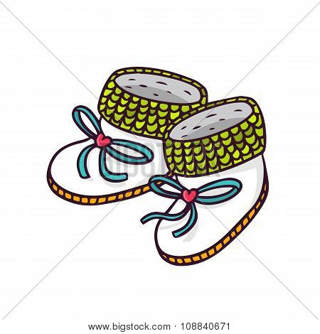 Baby Booties, Bright Vector Children Illustration Isolated On White