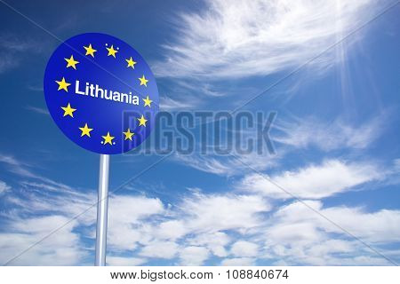 Lithuania Border Sign