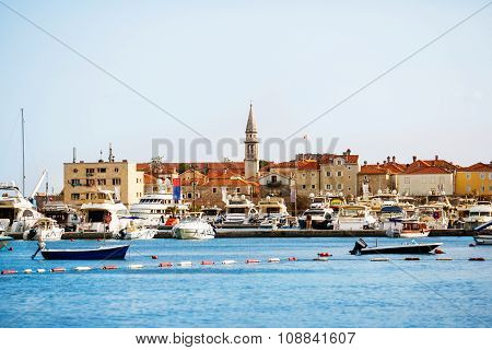 Marina and yachts in the old town of Budva, Montenegro.