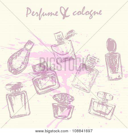 Vector Perfume Bottles Sketch