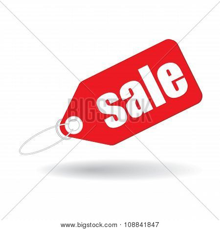 SALE poster labels with letters on red background