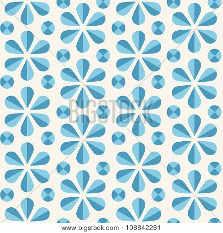 Vector Blue Floral Seamless Pattern, Origami Style