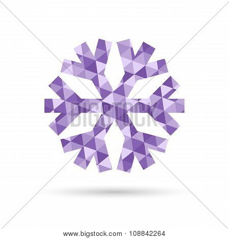 Snowflake, Vector New Year And Christmas Icon Of Purple Triangles