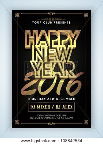Creative Flyer, Banner or Pamphlet design with stylish shiny text Happy New Year 2016.