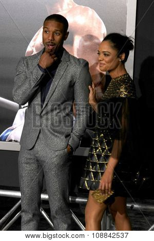 LOS ANGELES - NOV 19:  Michael B. Jordan, Tessa Thompson at the