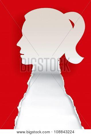 Woman Head Paper Silhouette