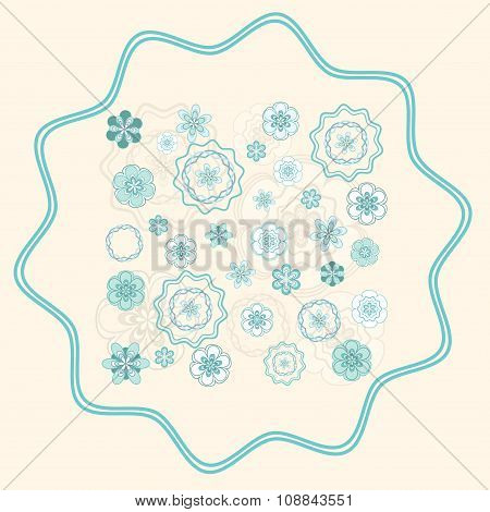 Greenish Blue Ornament on Light Beige Background