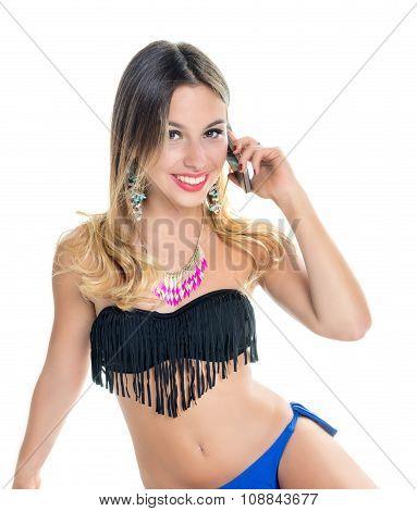 Girl Holder Phone In Briefs