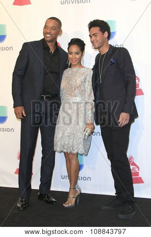 LAS VEGAS - NOV 19:  Will Smith, Jada Pinkett Smith, Trey Smith at the 16th Latin GRAMMY Awards at the MGM Grand Garden Arena on November 19, 2015 in Las Vegas, NV
