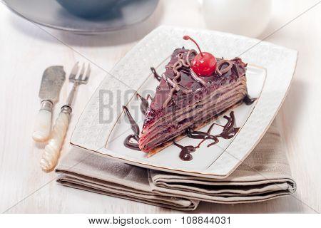 Layered Chocolate Cake  With  Cherries