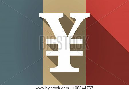 Long Shadow Flag Of France Vector Icon With A Yen Sign