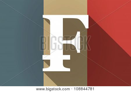 Long Shadow Flag Of France Vector Icon With A Swiss Franc Sign