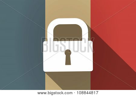 Long Shadow Flag Of France Vector Icon With A Closed Lock Pad