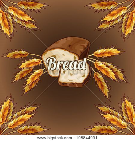 Bread with ears of rye on a brown background
