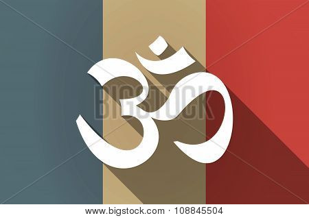 Long Shadow Flag Of France Vector Icon With An Om Sign