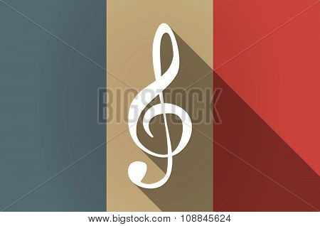 Long Shadow Flag Of France Vector Icon With A G Clef