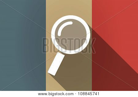 Long Shadow Flag Of France Vector Icon With A Magnifier