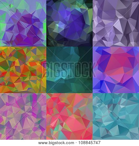 Set of 9 Abstract Triangular Wallpapers