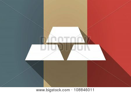 Long Shadow Flag Of France Vector Icon With Three Gold Bullions
