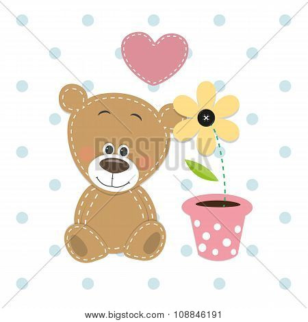 Bear With Heart And Flower