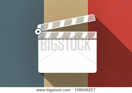 Long Shadow Flag Of France Vector Icon With A Clapperboard