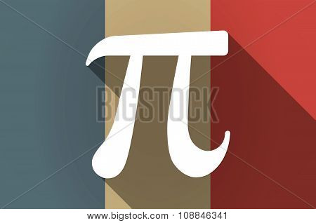 Long Shadow Flag Of France Vector Icon With The Number Pi Symbol