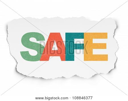 Security concept: Safe on Torn Paper background