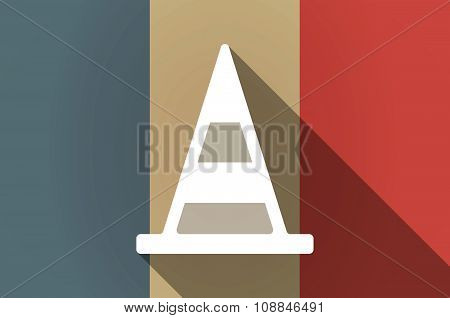 Long Shadow Flag Of France Vector Icon With A Road Cone