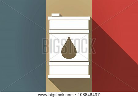 Long Shadow Flag Of France Vector Icon With A Barrel Of Oil