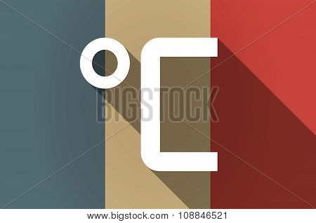 Long Shadow Flag Of France Vector Icon With  A Celsius Degree Sign