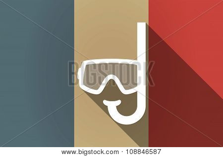 Long Shadow Flag Of France Vector Icon With A Diving Goggles
