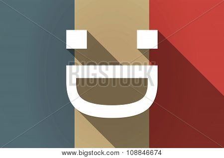 Long Shadow Flag Of France Vector Icon With A Laughing Text Face