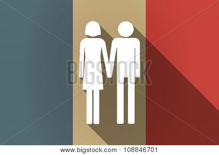 Long Shadow Flag Of France Vector Icon With A Heterosexual Couple Pictogram