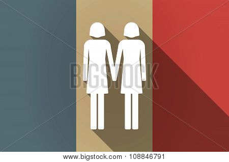 Long Shadow Flag Of France Vector Icon With A Lesbian Couple Pictogram