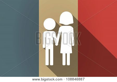 Long Shadow Flag Of France Vector Icon With A Childhood Pictogram