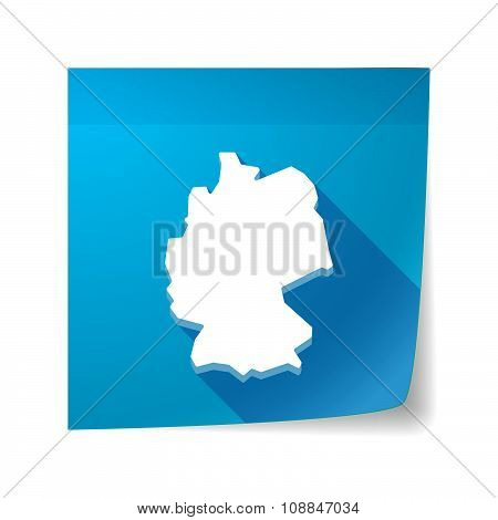 Long Shadow Vector Sticky Note Icon With  A Map Of Germany