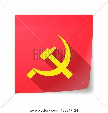 Long Shadow Vector Sticky Note Icon With  The Communist Symbol