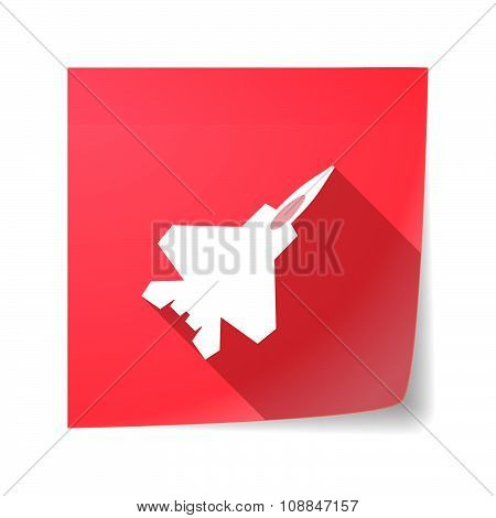 Long Shadow Vector Sticky Note Icon With A Combat Plane