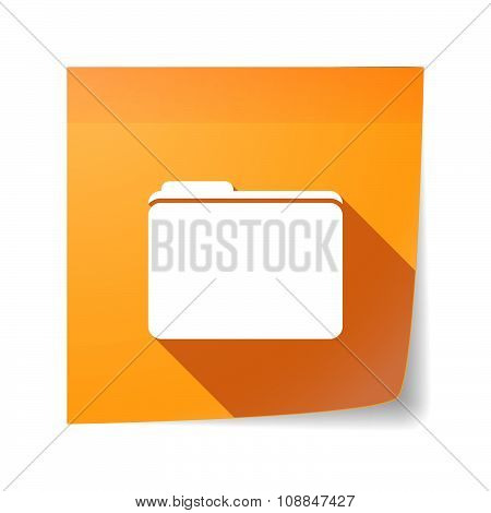 Long Shadow Vector Sticky Note Icon With A Folder