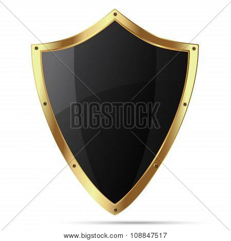 Glittering Black Shield With Gold Body That Have Rivets On The Perimeter