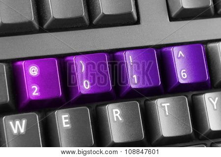 2016 Written With Pink And Purple Keyboard Buttons