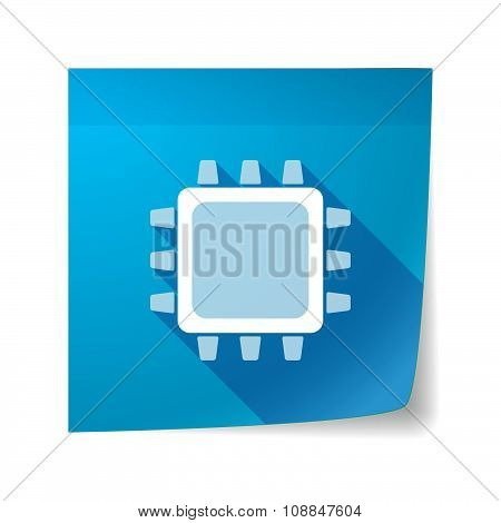 Long Shadow Vector Sticky Note Icon With A Cpu