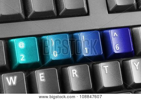 2016 Written With Blue Keyboard Buttons