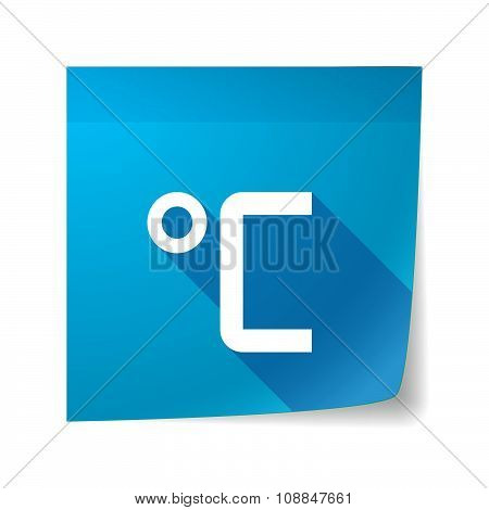 Long Shadow Vector Sticky Note Icon With  A Celsius Degree Sign