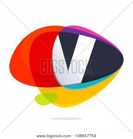 V Letter With Ellipses Intersection Logo.