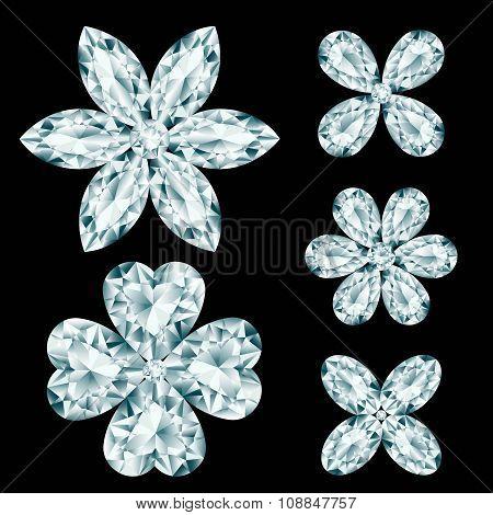 Set Of Diamond Flowers On Black Background