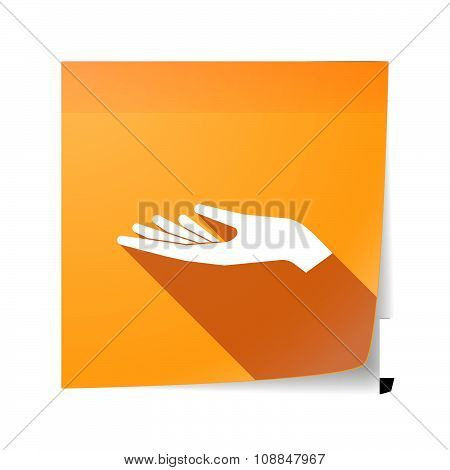 Long Shadow Vector Sticky Note Icon With A Hand Offering